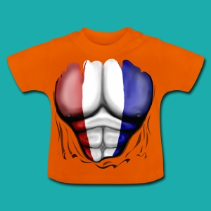 Holland Flag Ripped Muscles, six pack, chest t-shirt - Baby T-Shirt