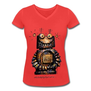 Funny Little Robot  - Women's Organic V-Neck T-Shirt by Stanley & Stella
