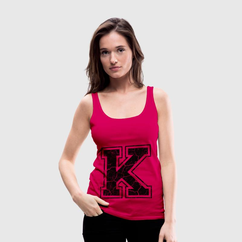 Litera K do Grunge-Look Topy - Tank top damski Premium