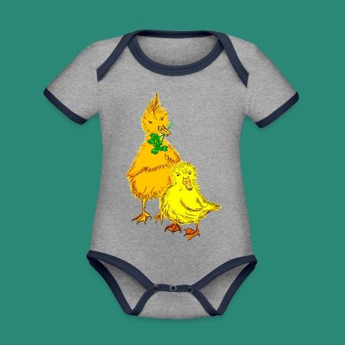 Kinder T Shirt Küken - Baby Bio-Kurzarm-Kontrastbody