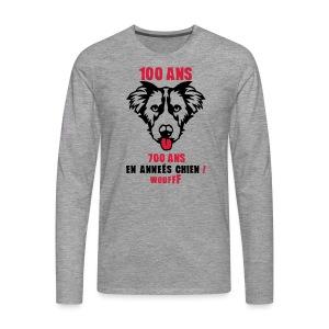 100 Ans année de chien - T-shirt manches longues Premium Homme