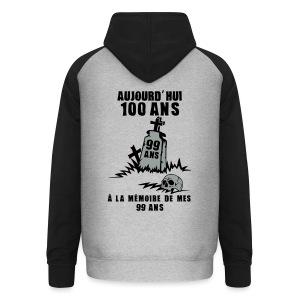 100 Ans memoire - Sweat-shirt baseball unisexe