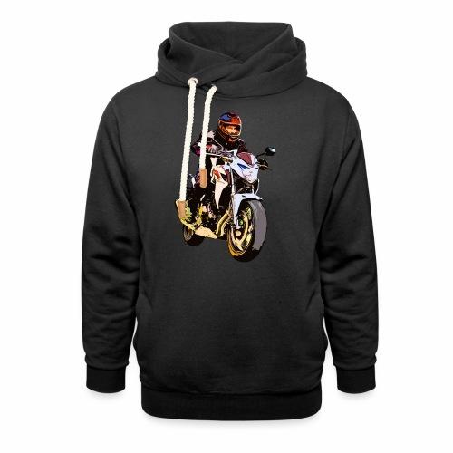 Motorradfahrer Comic - Schalkragen Hoodie