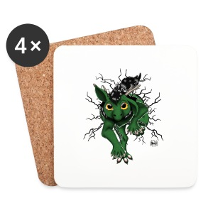 Huch?!- Drachi Dragon stuck grün/green Tasse - Untersetzer (4er-Set)
