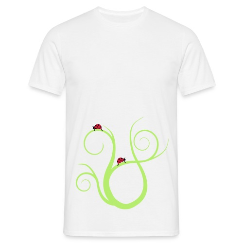 Marienkäfer auf geschwungenem Gras - Männer T-Shirt