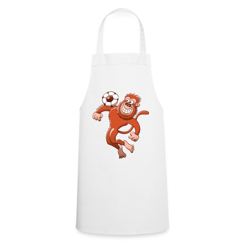 Monkey Trapping a Foot Ball with its Chest Long sleeve shirts - Cooking Apron
