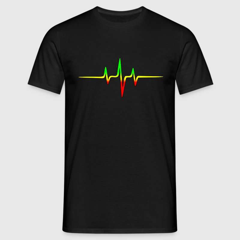 Reggae, music, notes, pulse, frequency, Rastafari  - Männer T-Shirt