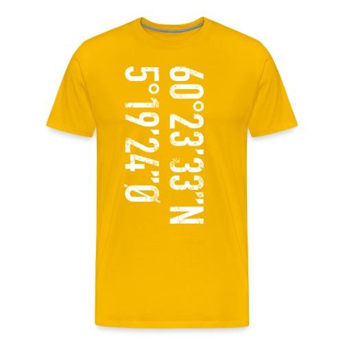 Bergen koordinater - Premium T-skjorte for menn