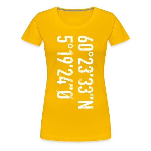 Bergen koordinater - Premium T-skjorte for kvinner