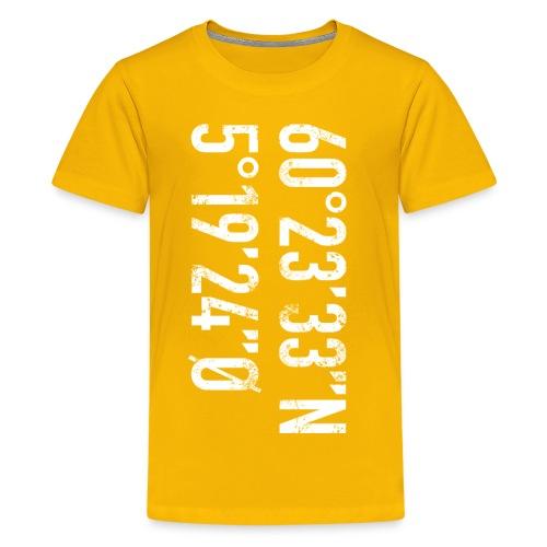 Bergen koordinater - Premium T-skjorte for tenåringer