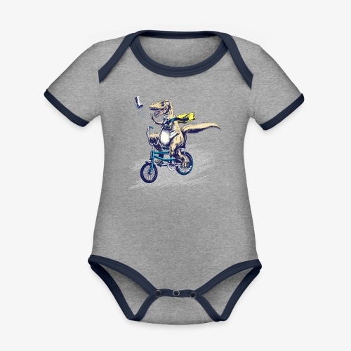 T Rex PaperBoy Blue - Organic Baby Contrasting Bodysuit