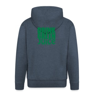 Drink Green Juice - Men's Tee (white print) - Men's Premium Hooded Jacket