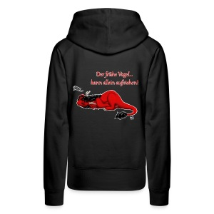Drachi Dragon müde rot/red FrauenT-Shirt Backdruck - Frauen Premium Hoodie