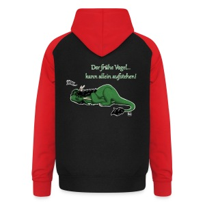 Drachi Dragon müde grün/green FrauenT-Shirt Backdruck - Unisex Baseball Hoodie
