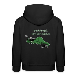 Drachi Dragon müde grün/green FrauenT-Shirt Backdruck - Kinder Premium Hoodie