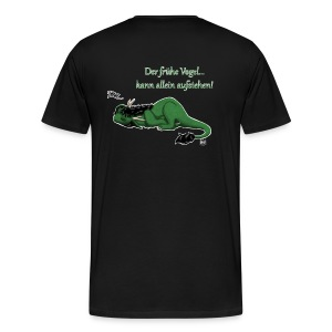 Drachi Dragon müde grün/green FrauenT-Shirt Backdruck - Männer Premium T-Shirt
