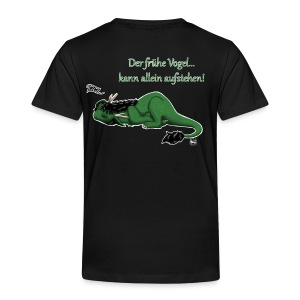 Drachi Dragon müde grün/green FrauenT-Shirt Backdruck - Kinder Premium T-Shirt