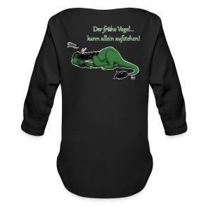 Drachi Dragon müde grün/green FrauenT-Shirt Backdruck - Baby Bio-Langarm-Body