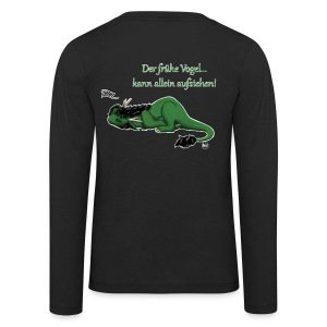 Drachi Dragon müde grün/green FrauenT-Shirt Backdruck - Kinder Premium Langarmshirt