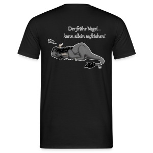 Drachi Dragon müde grau/grey FrauenT-Shirt Backdruck - Männer T-Shirt