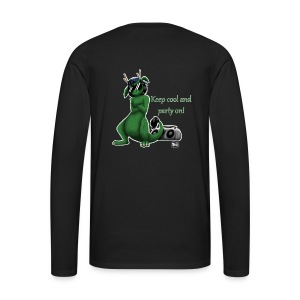 Keep cool- Drachi Dragon grün/green FrauenT-Shirt Backdruck - Männer Premium Langarmshirt