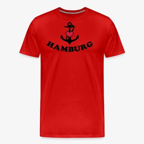 Hamburg meine Liebe I LOVE  Herz auf Anker Heart FrauenT-Shirt - Männer Premium T-Shirt