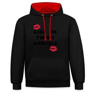 Kiss Me I'm an Asshole - Pullover - Kontrast-Hoodie