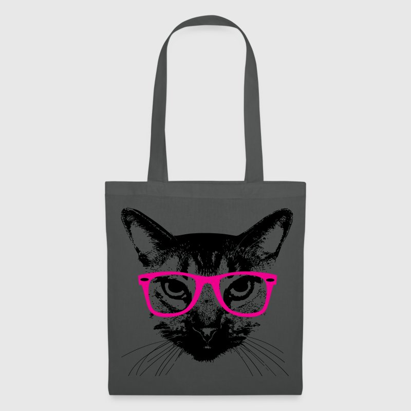 hipster katze pinke brille hipster cat glasses stoffbeutel spreadshirt. Black Bedroom Furniture Sets. Home Design Ideas