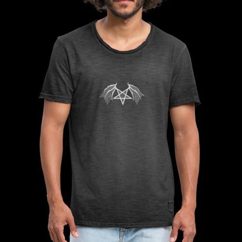 Tasse mit struktur Flügelpentagram hellgrau - Männer Vintage T-Shirt