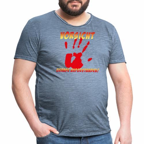 Vorsicht - gerade aufgestanden - Männer Vintage T-Shirt