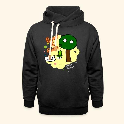 Baumi und Gecko (gelber Hintergrund) - Schalkragen Hoodie