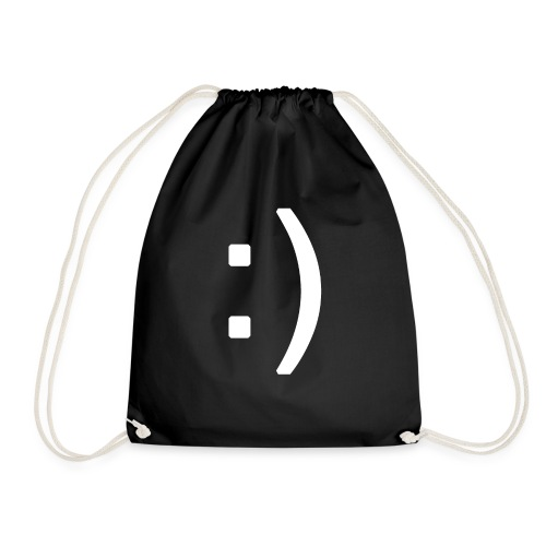 Happy smiley face in text - Drawstring Bag