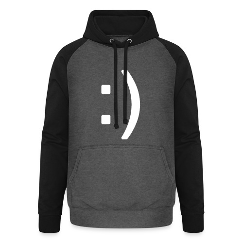 Happy smiley face in text - Unisex Baseball Hoodie