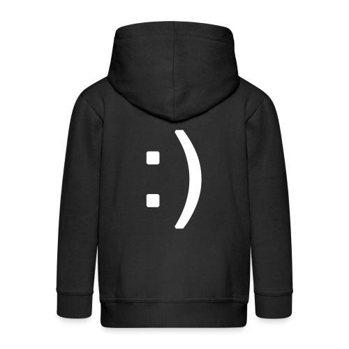 Happy smiley face in text - Kids' Premium Zip Hoodie