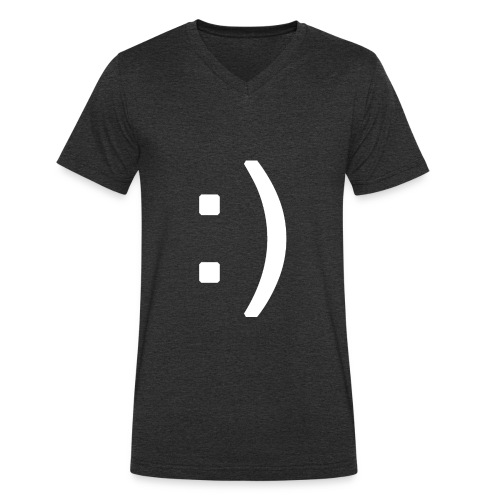 Happy smiley face in text - Men's Organic V-Neck T-Shirt by Stanley & Stella
