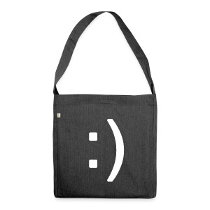 Happy smiley face in text - Shoulder Bag made from recycled material