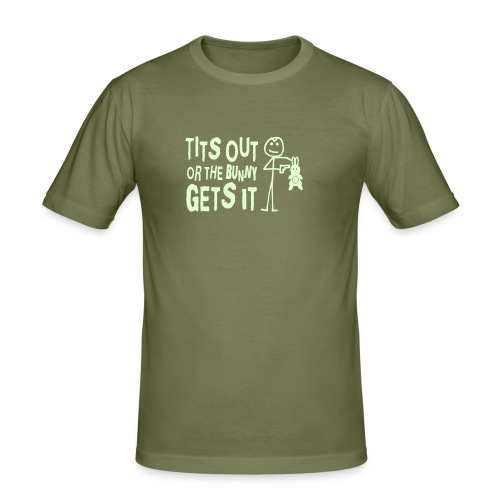 Tits Out or the Bunny Gets It Shirt (reflective) - Men's Slim Fit T-Shirt