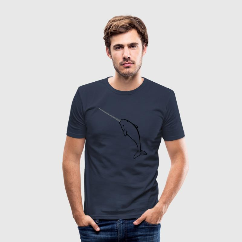 Navy narwhal Men's T-Shirts - Men's Slim Fit T-Shirt