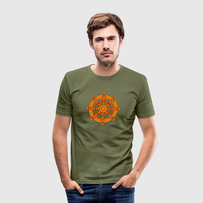 Dharma Wheel of Fortune, Buddhism, Chakra T-Shirts - Men's Slim Fit T-Shirt