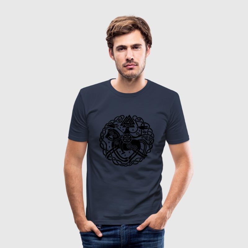 Odin auf Sleipnir mit Hugin und Munin, Allfather T-Shirts - Männer Slim Fit T-Shirt