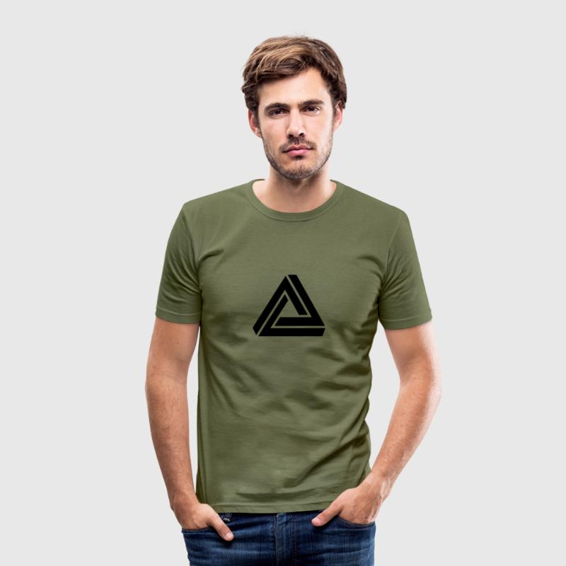 Penrose triangle, Impossible, illusion, Escher T-Shirts - Men's Slim Fit T-Shirt