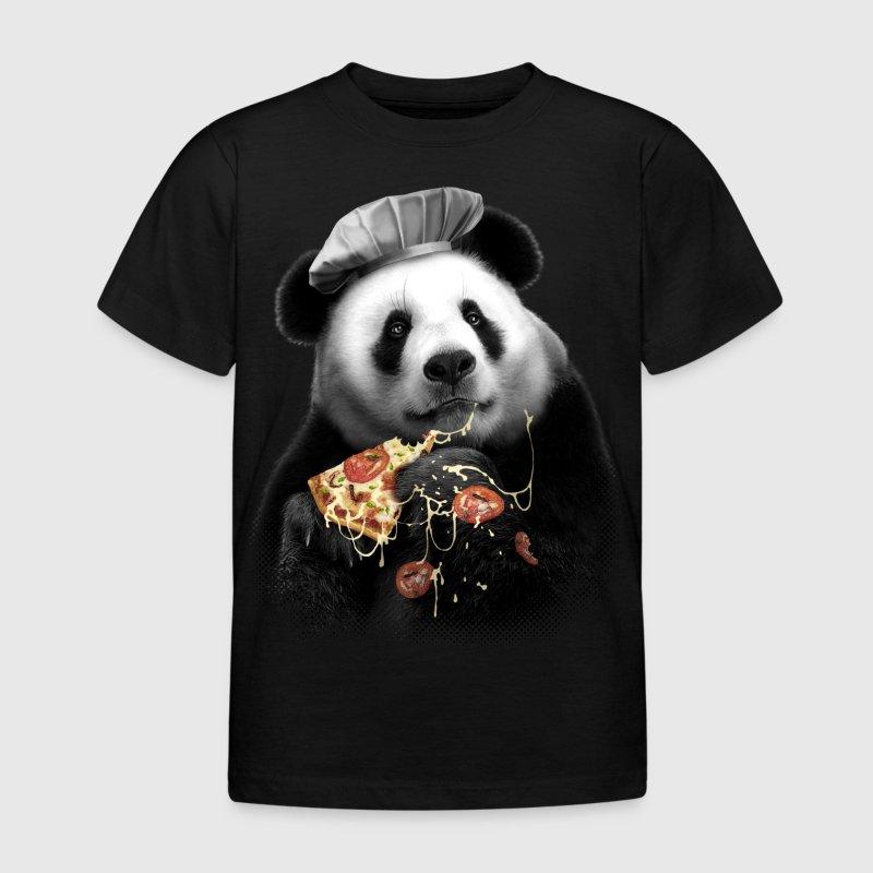 Noir Pizza Panda Tee shirts - T-shirt Enfant
