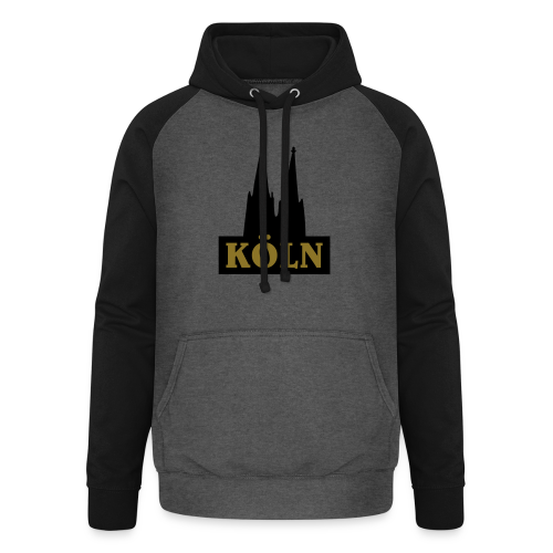 Köln Logo mit Kölner Dom (S/W) - Unisex Baseball Hoodie