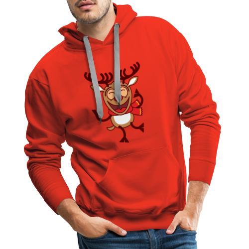Christmas Reindeer Dancing Animatedly Long Sleeve Shirts - Men's Premium Hoodie
