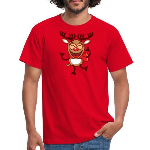 Christmas Reindeer Dancing Animatedly Long Sleeve Shirts - Men's T-Shirt