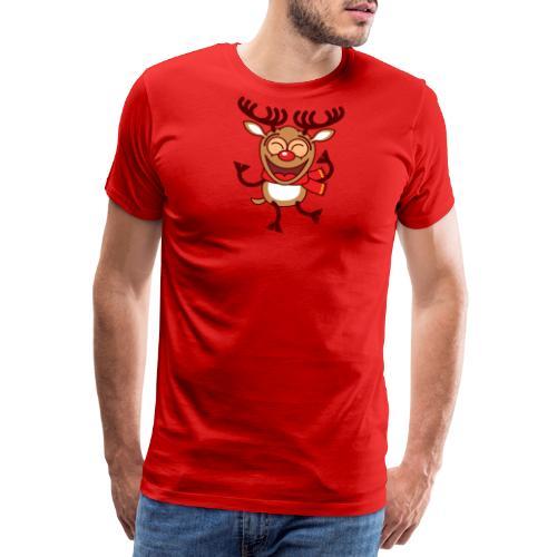 Christmas Reindeer Dancing Animatedly Long Sleeve Shirts - Men's Premium T-Shirt