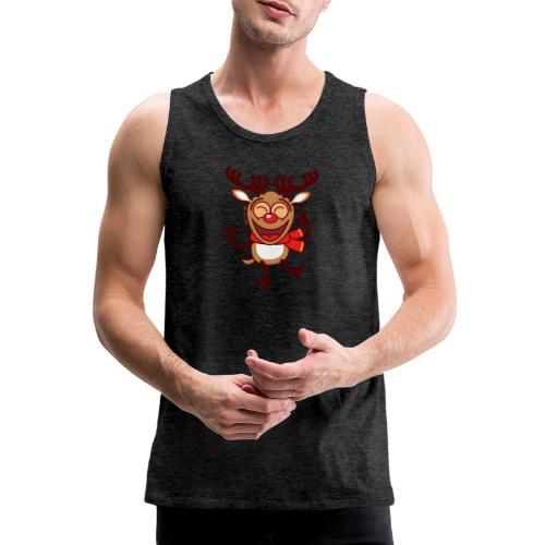 Christmas Reindeer Dancing Animatedly Long Sleeve Shirts - Men's Premium Tank Top