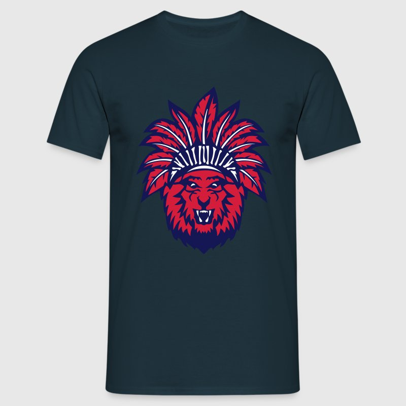 lion tete coiffe indienne indien 0 Tee shirts - T-shirt Homme