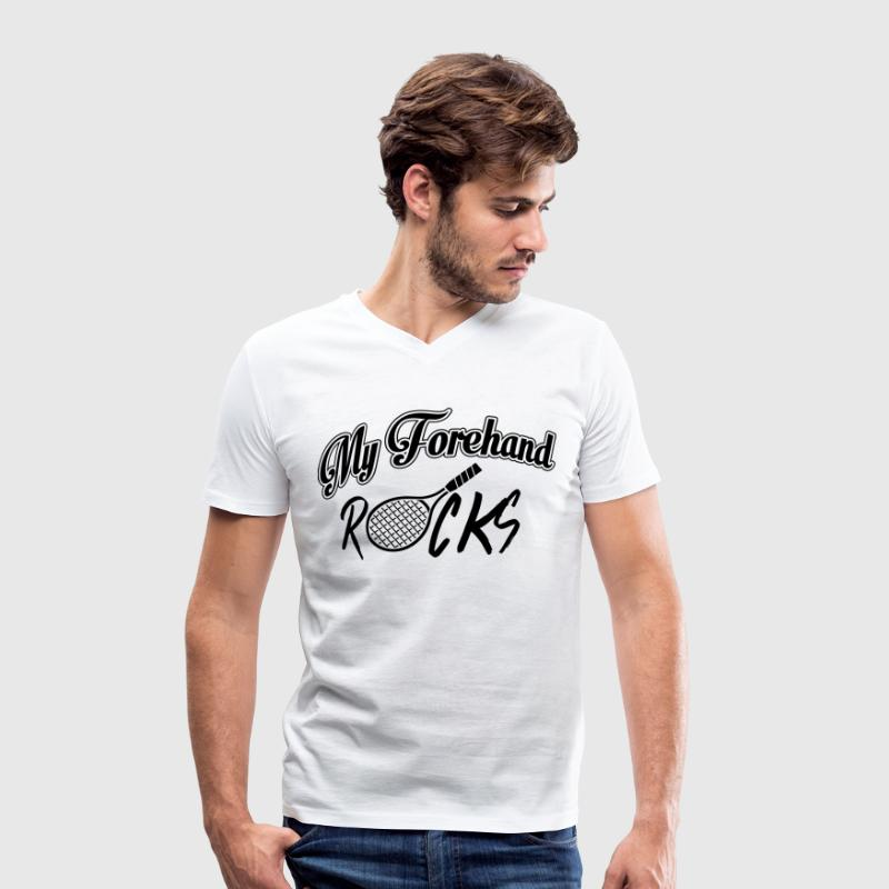 Tennis - my forehand rocks T-Shirts - Men's V-Neck T-Shirt