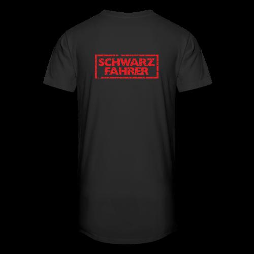 Schwarzfahrer T-Shirt (Schwarz Rot) Rücken - Männer Urban Longshirt